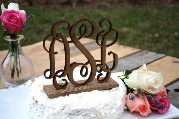 monogram wedding cake topper made of wood