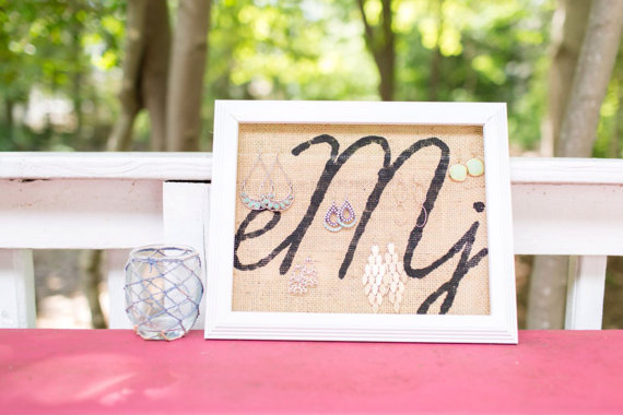 monogrammed earring holder | monogrammed bridesmaid gifts