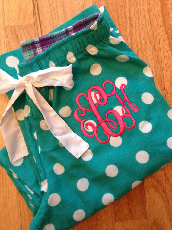 Bridesmaid Getting Ready Outfit Ideas: Monogrammed Pajama Pants (by Mini Sparrows)