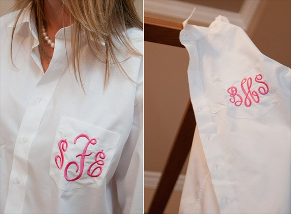 Bridesmaid Getting Ready Outfit Ideas: Monogrammed Shirts (by Memento)