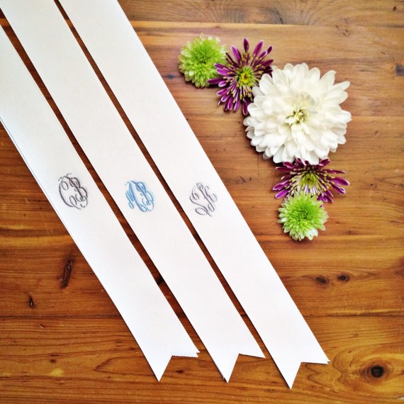 Monogrammed Bouquet Ribbons for Weddings | by Oatmeal Lace Design