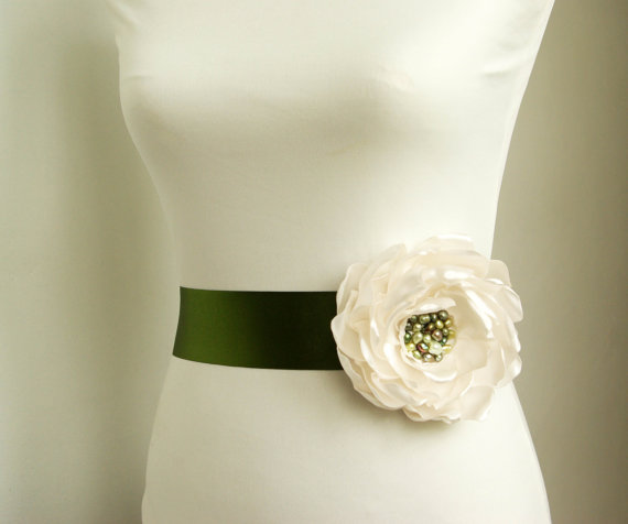 Flower Sash for Wedding Dress in Moss Green