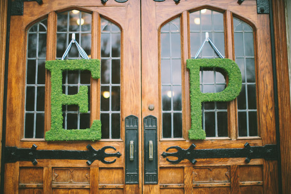 moss monogram letters ceremony doors