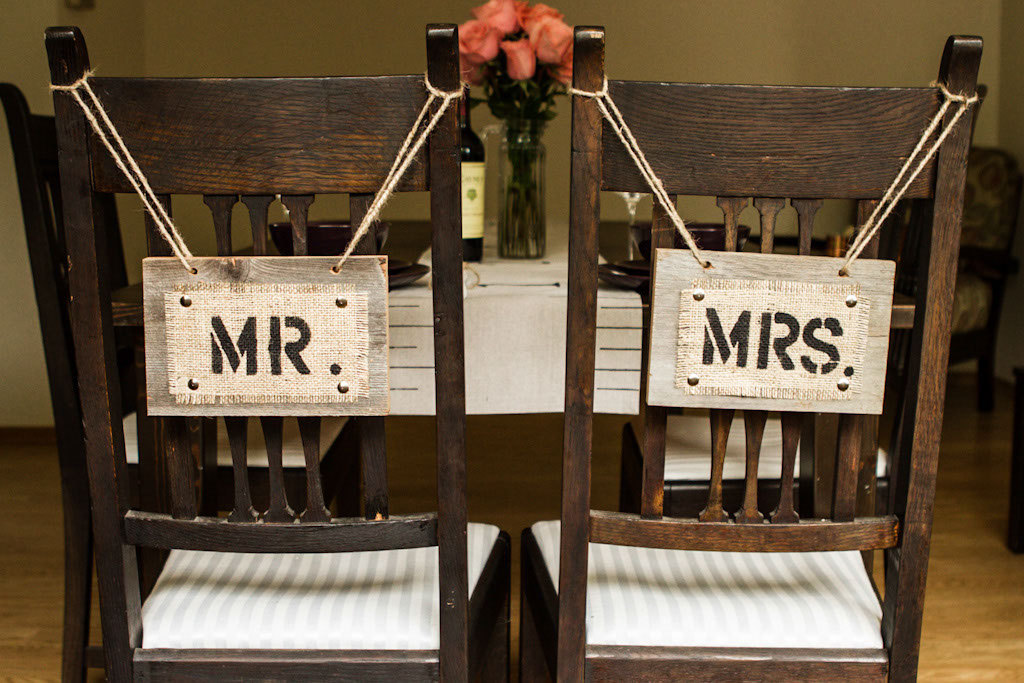 mr and mrs burlap chair signs | 50 Best Burlap Wedding Ideas | via http://emmalinebride.com/decor/burlap-wedding-ideas/