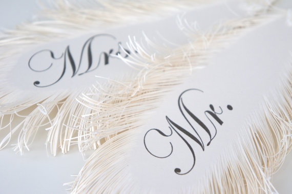 Feather Themed Wedding - mr and mrs chair sign feathers by lira designe