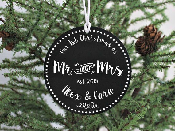 mr and mrs first christmas ornament married by itsybitsyframeshop