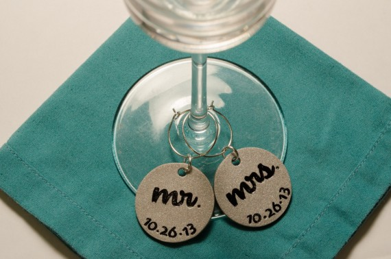 mr and mrs handmade wedding charms for wine glasses