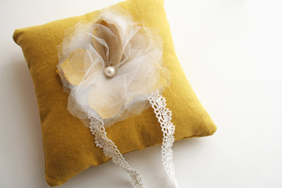 mustard yellow ring pillow