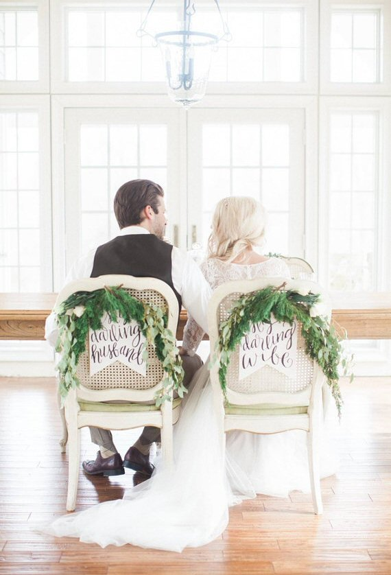 my darling husband my darling wife chair signs | via bride and groom chair signs http://emmalinebride.com/decor/bride-and-groom-chairs/