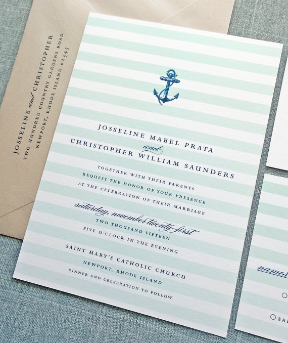 nautical wedding invitation - wedding invitation credit + robe giveaway