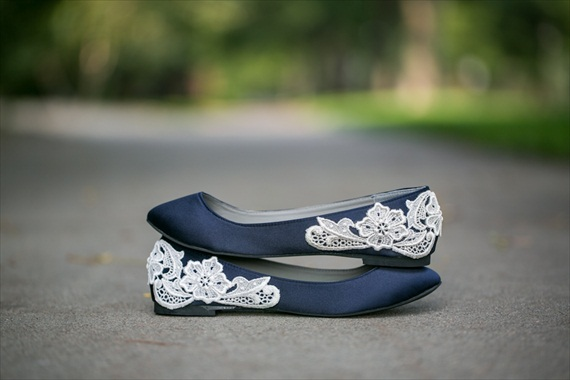 navy blue wedding flats with lace