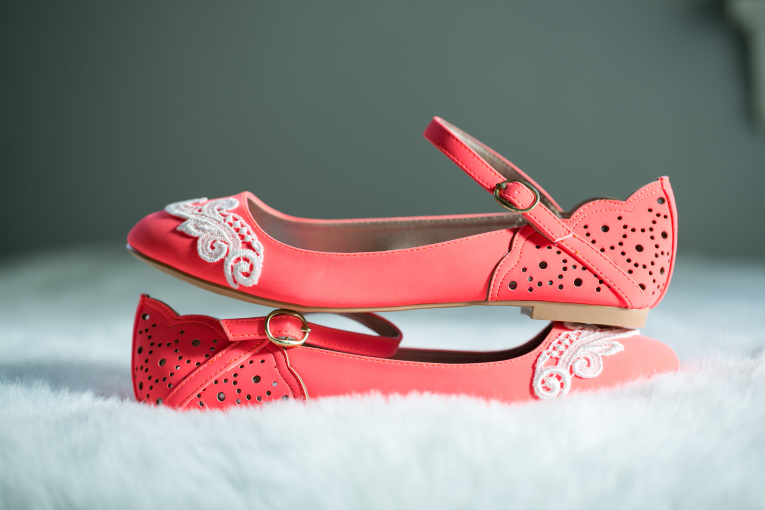 neon coral ballet flats