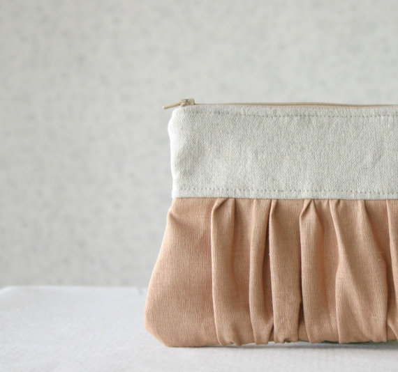neutral pleated clutch purse