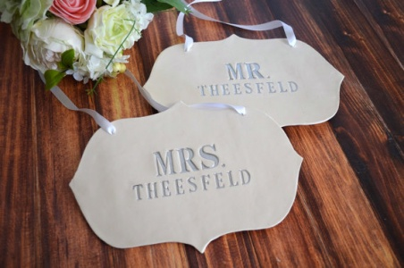 custom wedding chair signs | new name wedding chair signs