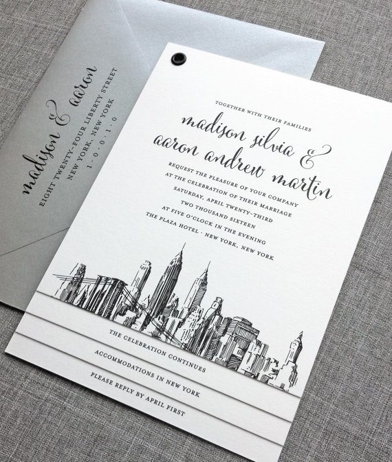 new york wedding invitation - wedding invitation credit + robe giveaway