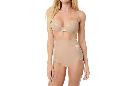 nude colored shapewear high-waisted underwear and bra via What to Wear Under the Dress