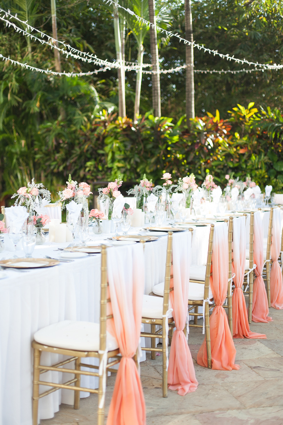ombre chair sashes | via 30 Best Ombre Wedding Ideas
