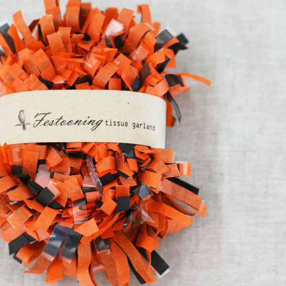 orange and black fringe decoration