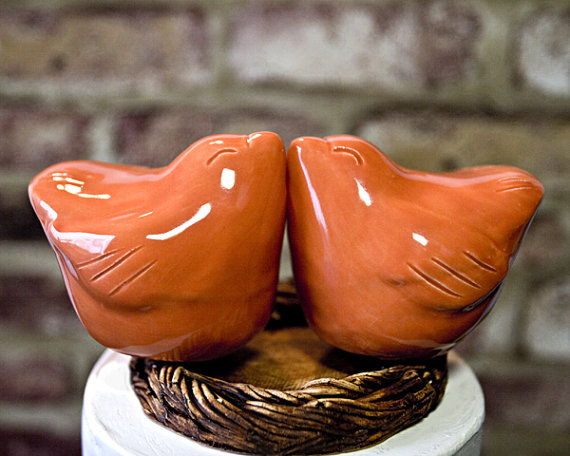 Love Bird Cake Toppers in Orange (by Dances With Clay)