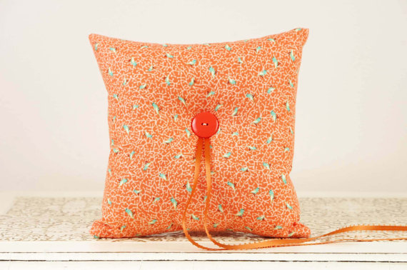orange-rillow-pillow-birdsceremony ring pillows that pop (wedding ring pillow by duryea place designs)