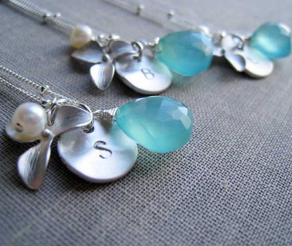 Birthstone Bridesmaid Jewelry - orchid initial necklace