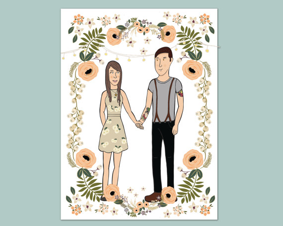 save the date with couple tattoos and suspenders // illustrated save the dates