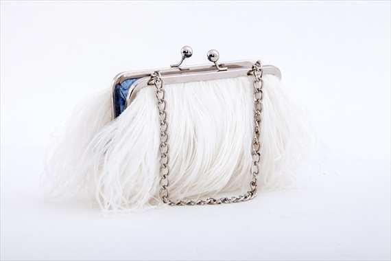 Ostrich Feather Purse (by Sara C. Accessories via EmmalineBride.com) #handmade #wedding
