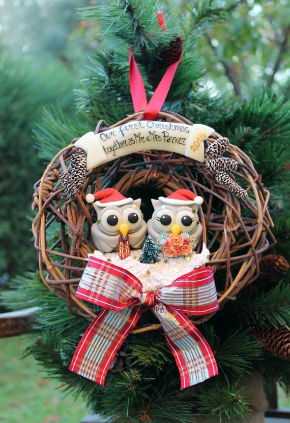owl first christmas ornament in wreath by perlillapets via 50+ First Christmas Ornaments Engaged / Married