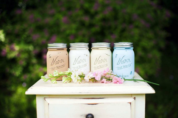 painted mason jars wedding