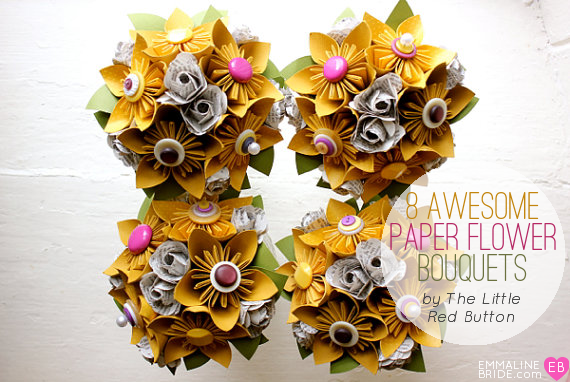 8 Incredible Paper Flower Bouquets (bouquet: The Little Red Button) via EmmalineBride.com