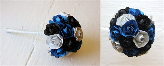 paper wedding flowers navy black
