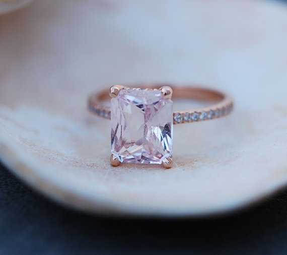 peach sapphire engagement ring modeled after blake lively | Engagement Rings Etsy | via https://emmalinebride.com/jewelry/40-best-handmade-rings-ever/