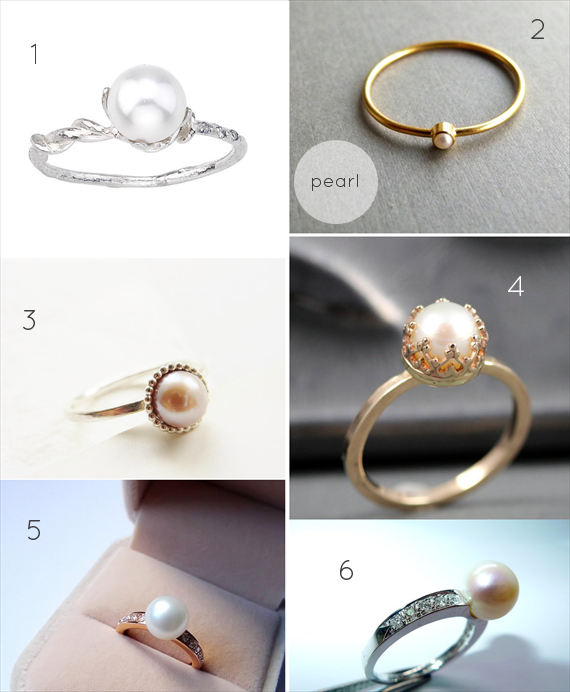 Alternative Engagement Ring Ideas:  Pearl (via EmmmalineBride.com)