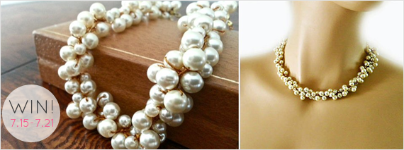 Chunky Pearl Necklace - Giveaway! (by Sukran Kirstis via EmmalineBride.com)