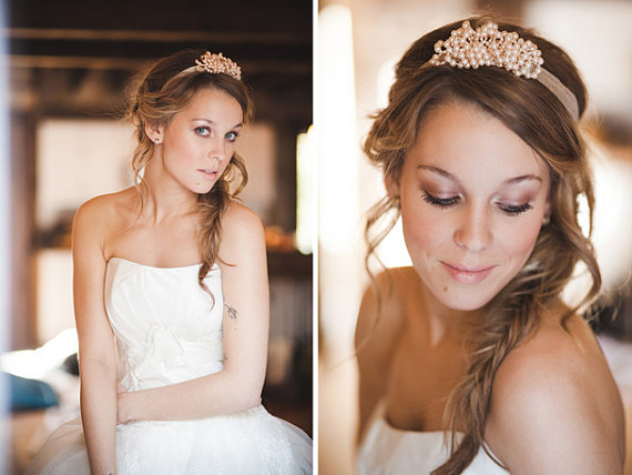 pearl wedding headband via 15 Stunning Wedding Veil Alternatives