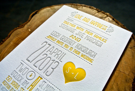 Personalize Wedding Invitations Letterpress
