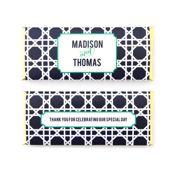 personalized candy wrappers for wedding favors | trellis navy blue
