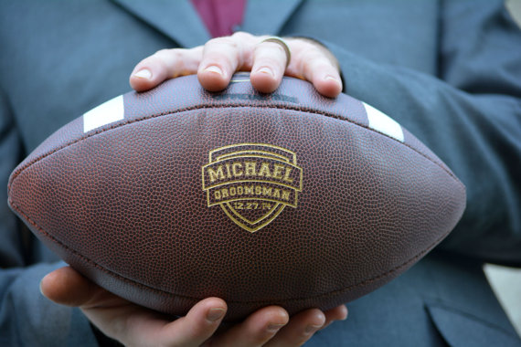 personalized football for groomsmen