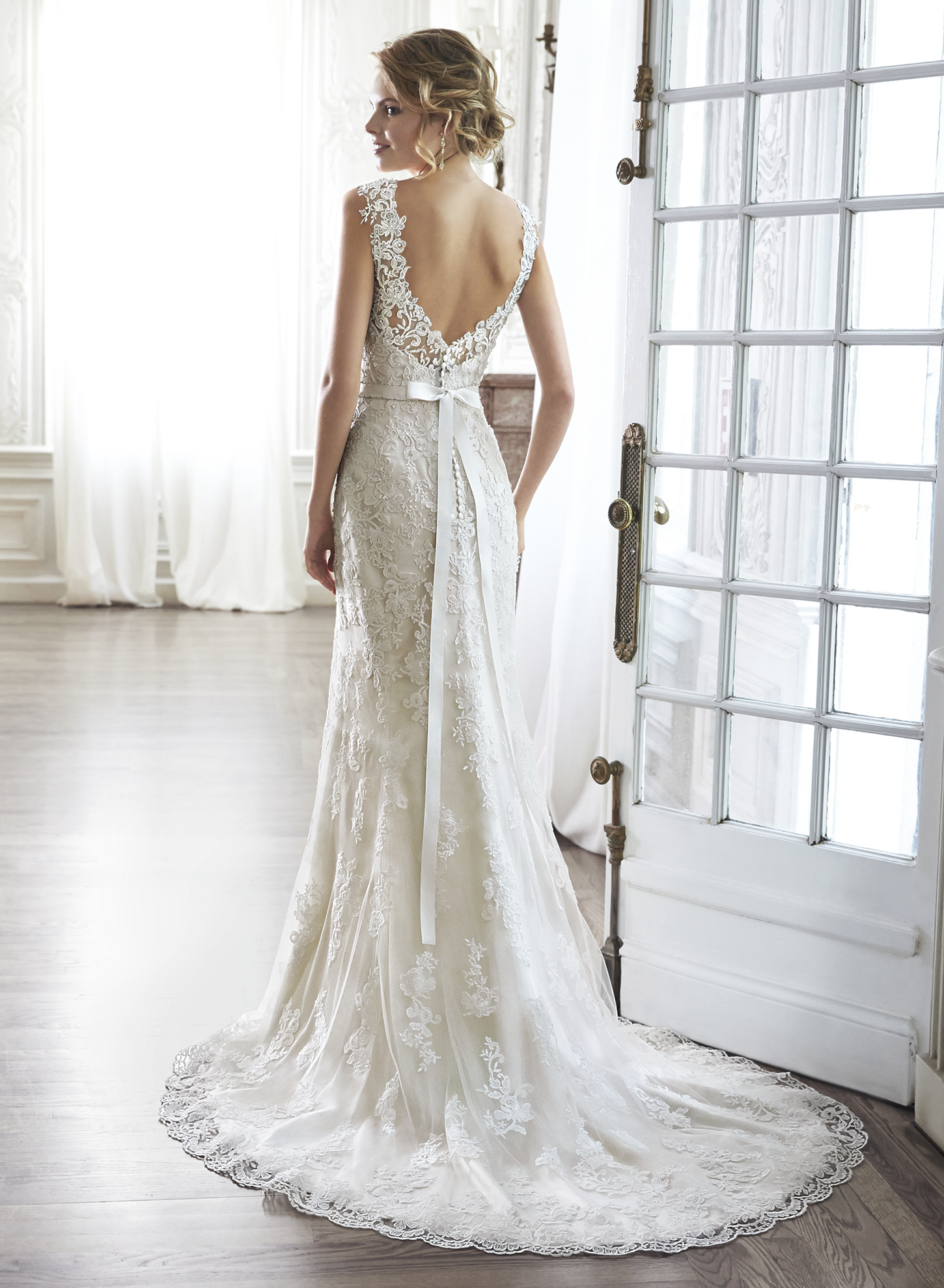 PIA (back view) | Sheath Wedding Dresses by Maggie Sottero | via EmmalineBride.com