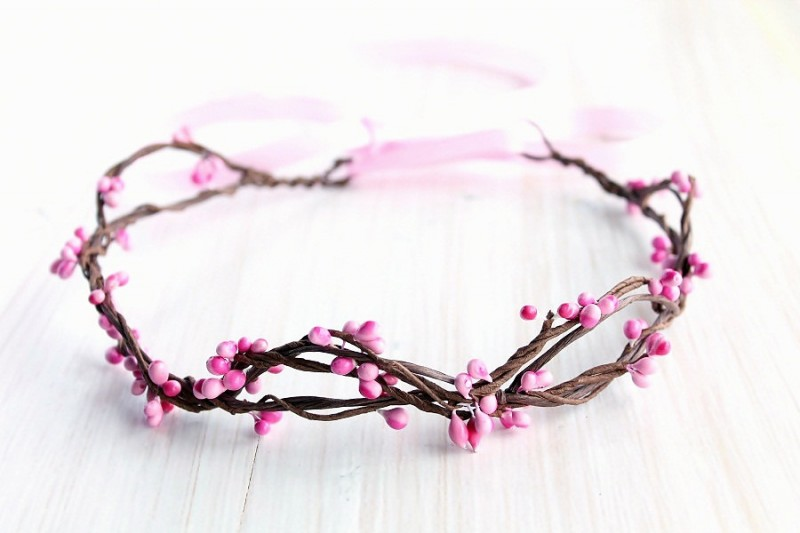 Pink Berries | Flower Girl Hair Crowns | http://emmalinebride.com/flower-girl/hair-crowns/