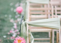 aisle decor with pink peonies