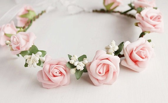 pink rose hair crown