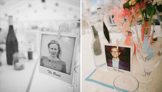 Polaroids at Weddings - polaroid place cards for bride and groom