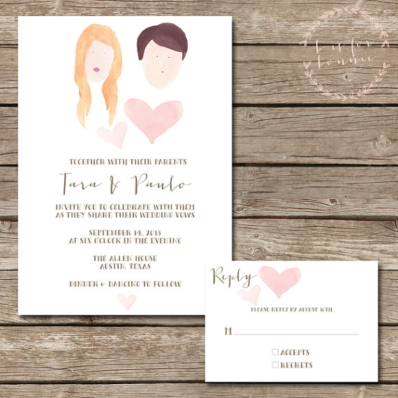 Hand-Painted Portrait Wedding Invitations (by B is for Bonnie)