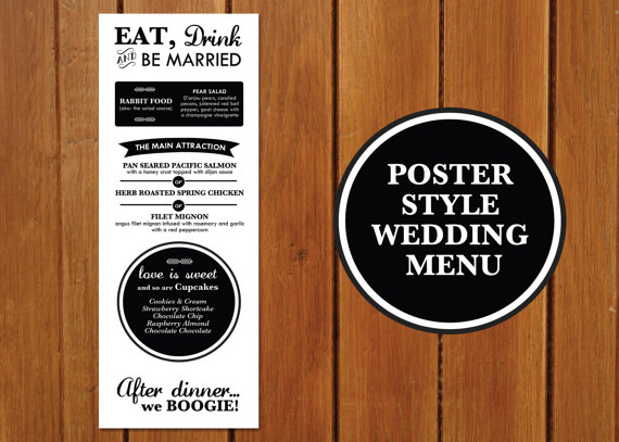 Poster Style Wedding Menu + Program