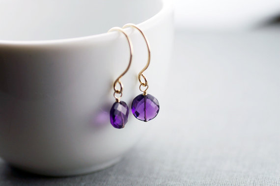handcrafted jewelry (by lily emme jewelry) - purple dangle earrings
