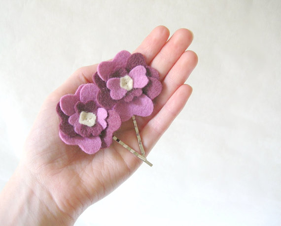 purple flower girl hair pins