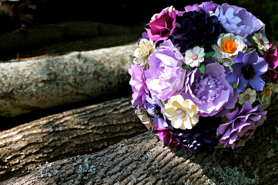 purple wedding bouquet made of paper