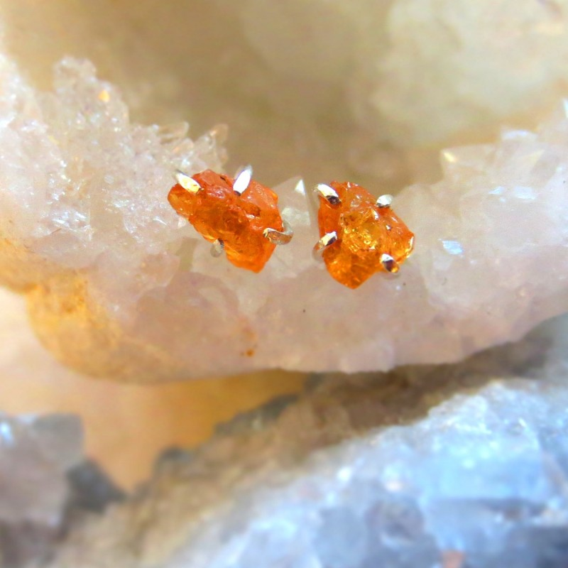 raw mandarine garnet earrings by alison titus jewelry