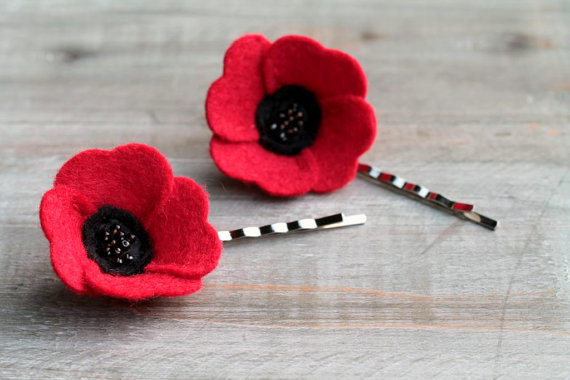 red poppy hair pins